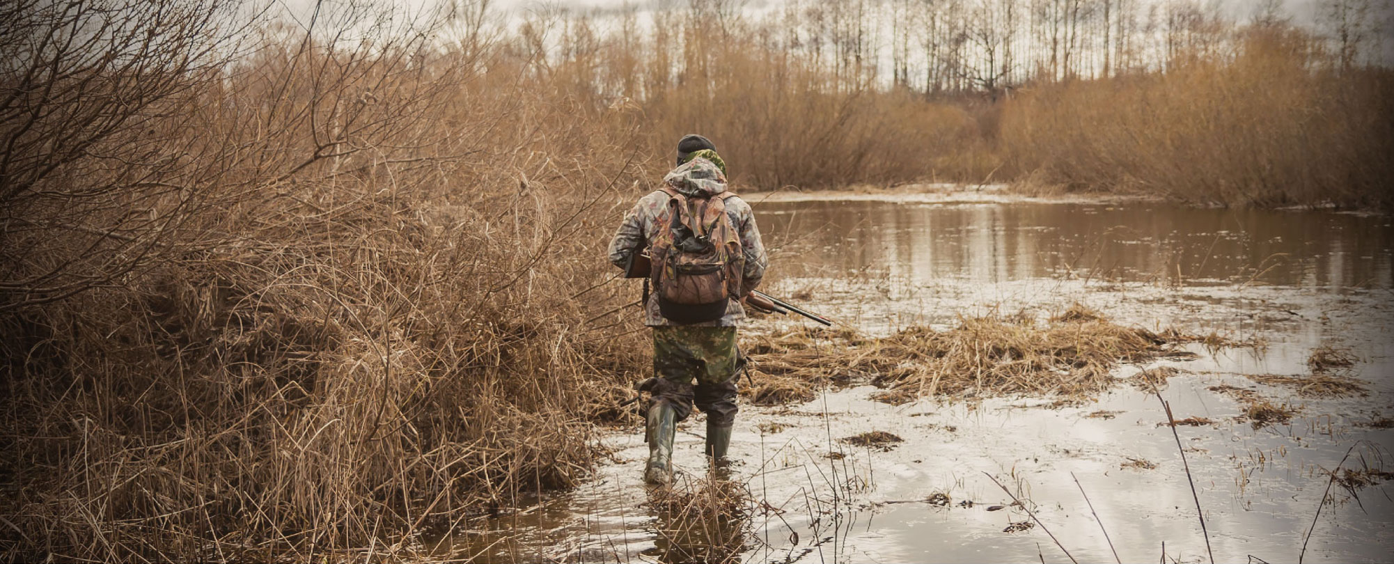 Man hunting in wetland
