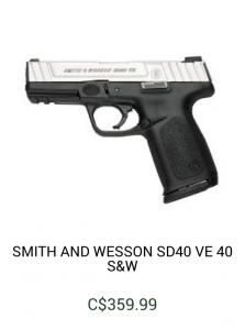Smith and Wesson SD40 gun